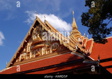 Laos Vientiane Wat That Fun Gable and roof - Stock Photo