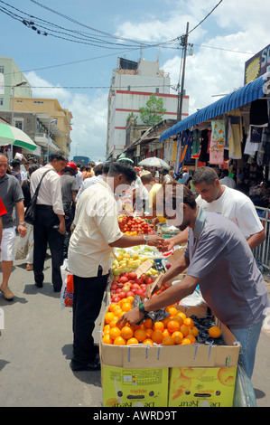 Mauritians at Food Market, Port Louis, Mauritius island - Stock Photo