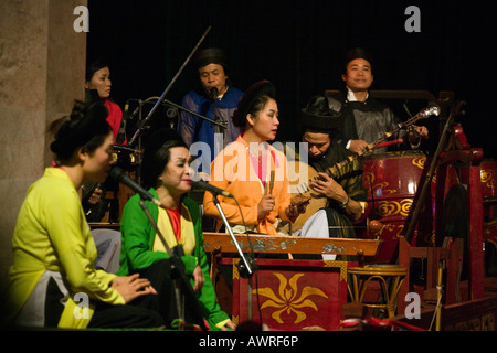 Members of the live band that perform alongside the THANG LONG WATER PUPPET THEATRE HANOI VIETNAM - Stock Photo