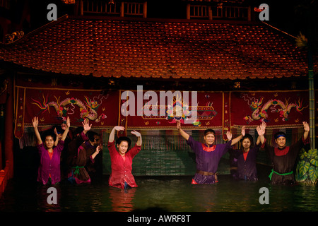 Curtain call for the talented performers of the THANG LONG WATER PUPPET THEATRE HANOI VIETNAM - Stock Photo