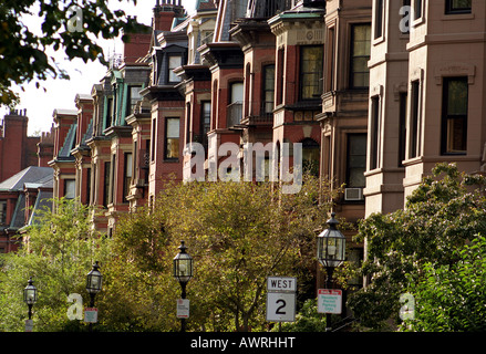 Historic victorian brownstone homes in Boston's Back Bay neighborhood - Stock Photo