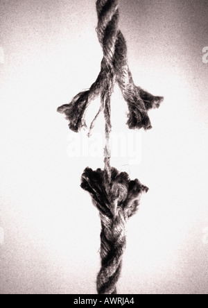 Frayed rope about to break - Stock Photo