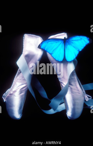 Point shoes and blue butterfly - Stock Photo