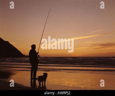 Fly fisherman with rod in hand and dog at his side at water's edge in Shipload Bay at Sunset near Hartland Point - Stock Photo
