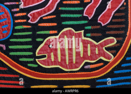 Appliqué decoration applied to blouses Molas s of the Kuna Indians San Blas Islands Panama Fish motif - Stock Photo