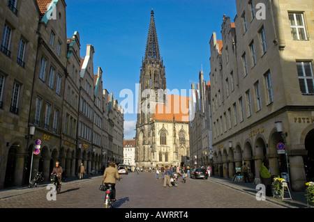 St. Lamberti Church and Prinzipal Market (Prinzipalmarkt), Muenster, North Rhine-Westphalia, Germany - Stock Photo