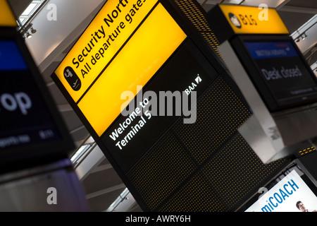 Security Notice display at London Heathrow Airport Terminal 5 - Stock Photo