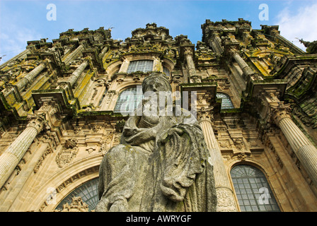 Statue in front of the cathedral of Santiago de Compostela, Galicia, Spain, Europe - Stock Photo