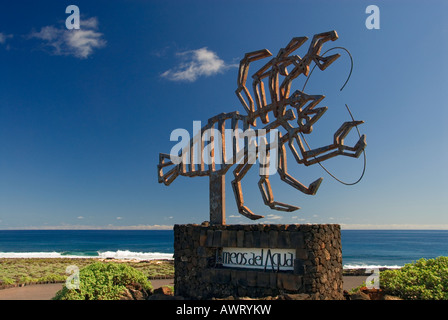 Sculpture of a crab designed by Cezar Manrique at Jameos del Agua, Lanzarote Canary Islands Spain - Stock Photo