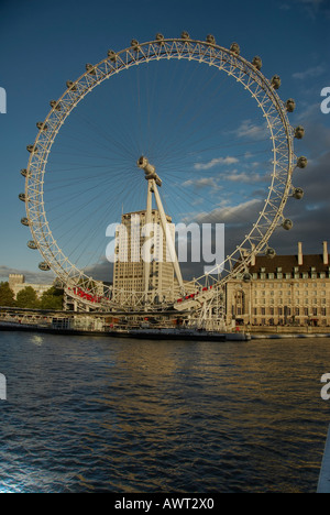 View  of the British Airways London Eye from  the river Thames - Stock Photo