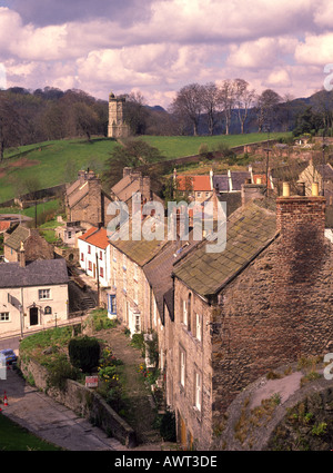 Richmond and the Cullodon Tower from the Castle Walls North Yorkshire England - Stock Photo
