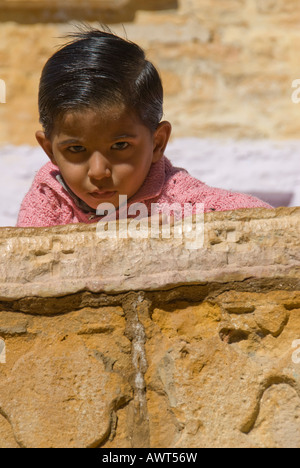 Portrait of a young Rajasthani girl in Jaisalmer, India. - Stock Photo