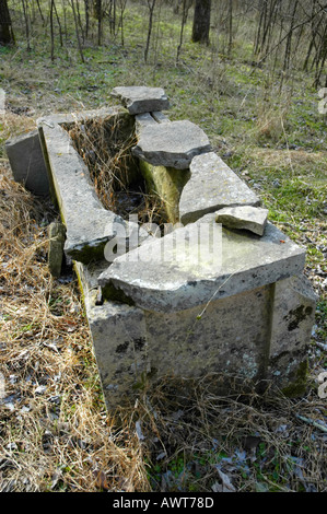 Remains of a cut stone grave cover from the early 19th century near a  Kentucky frontier house - Stock Photo