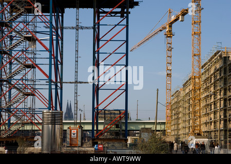 Rheinauhafen Koeln Baustelle Cologne construction site yacht port further storage town - Stock Photo