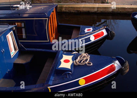 Canal boats and barges on the Shropshire Union Canal near the Aqueduct Pont Cysyllte Clwyd Wales UK United Kingdom - Stock Photo