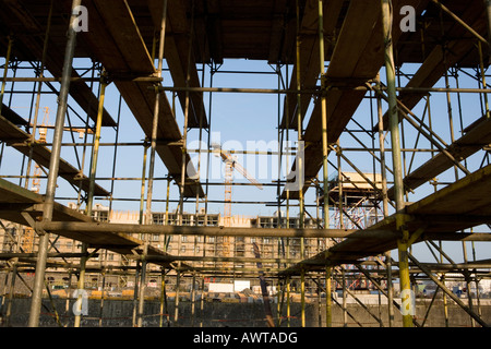 Rheinauhafen Koeln Baustelle Cologne construction site yacht port further storage town - Stock Photo