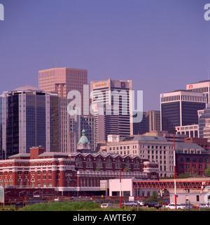 High-Rise Office Towers and Waterfront Station Downtown in the City of Vancouver in British Columbia Canada - Stock Photo