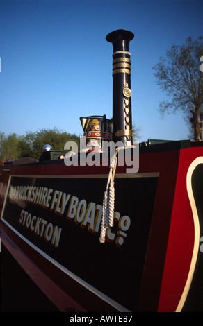 PICTURE CREDIT DOUG BLANE Traditional narrowboat cabin Grand Union Junction Canal - Stock Photo