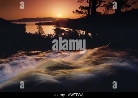 Dawn over Eagle Falls Emerald Bay Lake Tahoe California United States - Stock Photo