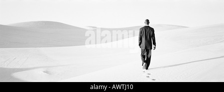 Businessman walking across dunes, rear view, b&w, panoramic view - Stock Photo