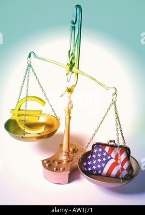 Euro sign and american coin purse placed on scales. - Stock Photo