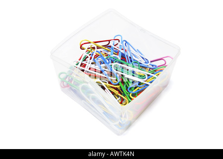 Paper Clips in Plastic Box - Stock Photo
