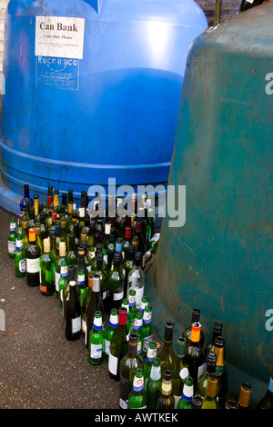 Recycling wine bottles can bank, refuse collection centre for litter, glass in Deerbyshire, UK - Stock Photo