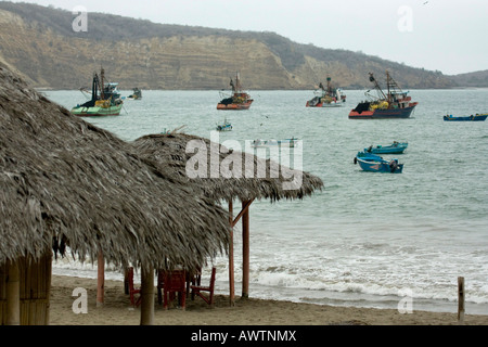 Fishing boats Puerto Lopez fishing Harbour Ecuador South America - Stock Photo