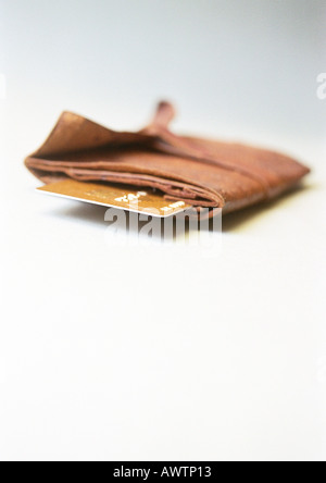 Wallet, end of credit card sticking out, close-up - Stock Photo