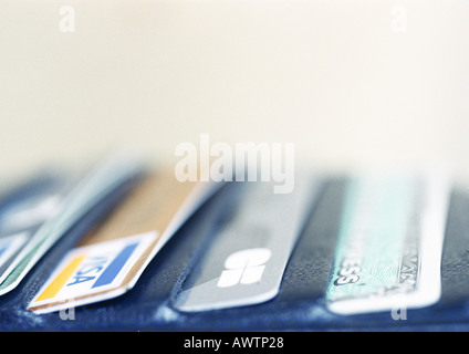 Credit cards in wallet, close-up - Stock Photo