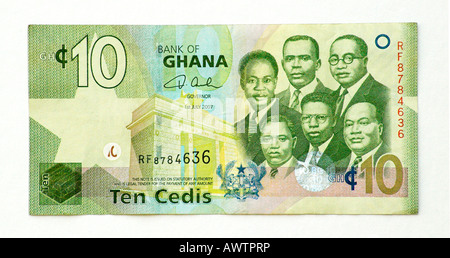 Ghana 10 Cedi bank note - Stock Photo