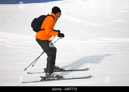 speeding skier in the mountains of Austrian Alps, Tyrol, Tirol, Austria - Stock Photo