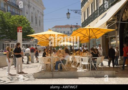 Portugal Lisbon, the Bairro Alto district, the Brasileira street café by the Praça Luis de Camões - Stock Photo