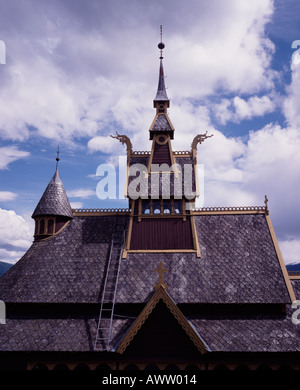 Roof of St Olafs stave church Balestrand Sognefjord Norway - Stock Photo
