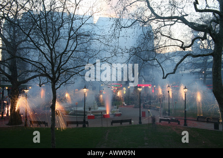 Firework display at the Chinese New Year celebrations, Leicester Square, London, 2008 - Stock Photo