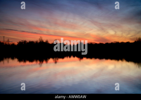 Sunset over Fenland Reedbeds Whittlesey Washes National Nature Bird Reserve Cambridgeshire England Britain UK - Stock Photo