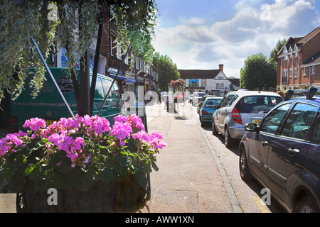 'The Bull' 'public house' street road parked cars pavement UK pink flowers planter - Stock Photo
