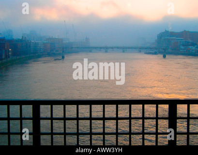 Early morning misty view from Blackfriars Station, 2008, London, England, UK - Stock Photo