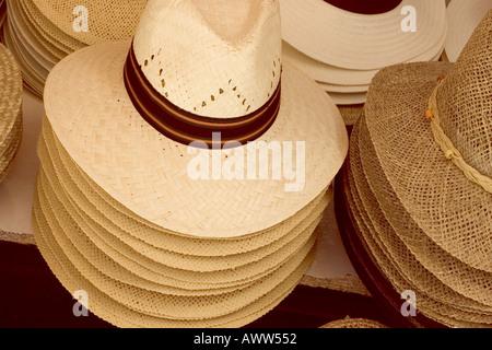 Panama hats in shop window - Stock Photo