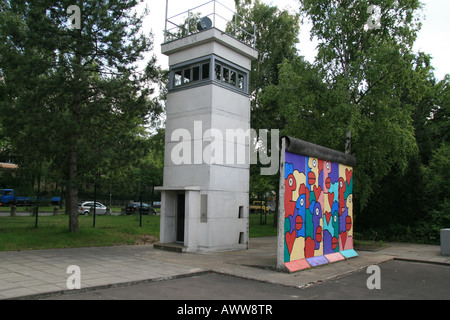 A section of the Berlin Wall and a Guardtower on display at the Allied Museum, Berlin. - Stock Photo