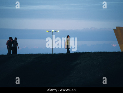 Friends walking at sunset - Stock Photo