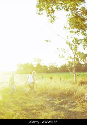 People walking in field - Stock Photo
