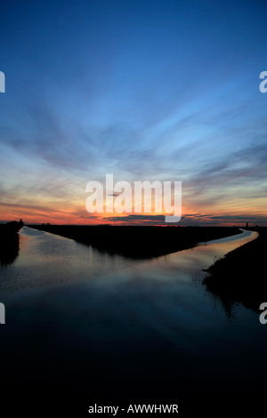 Sunset over the Twenty Foot Drain Nature and Bird Reserve Cambridgeshire England Britain UK - Stock Photo