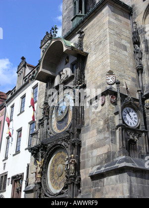 Astronomical Clock Old Town Square Prague Czech Republic - Stock Photo