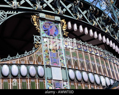 Stained glass art nouveau screen detail over the main entrance Prague Old Town Municipal House Praha Czech Republic - Stock Photo