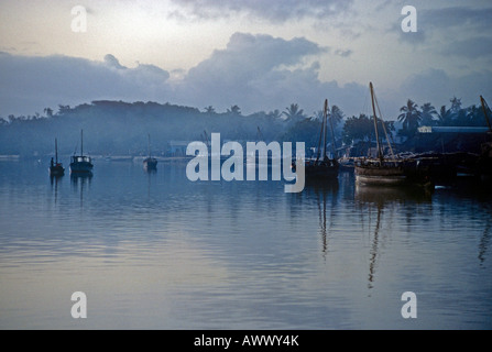 misty dawn with typical sailing Dhows tied up at the Harbour of Lamu off the north Kenyan coast - Stock Photo