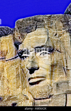 Digitally altered image of Abraham Lincoln on Mount Rushmore near Rapid City, South Dakota - Stock Photo