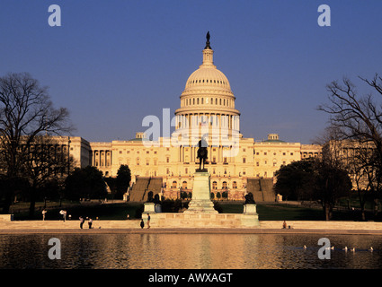 USA Washington DC US Capitol Building, The Ulysses S Grant Memorial and The Capitol Reflecting Pool - Stock Photo
