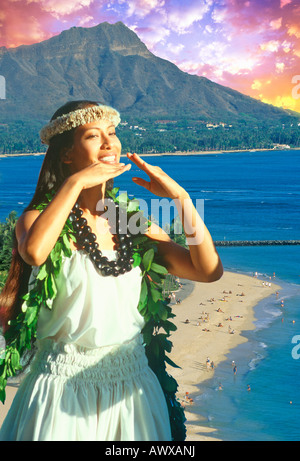 Composite image of Hawaiian native dancer and Diamond Head in Oahu, Hawaii - Stock Photo