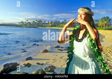 Composite image of Hawaiian native dancer and coastline in Hawaii - Stock Photo